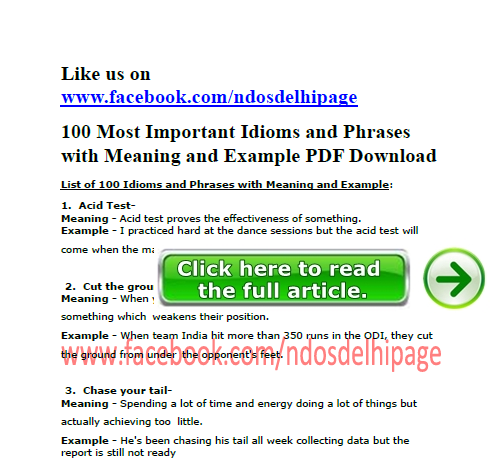 100 Most Important Idioms And Phrases With Meaning And Example Ndos Gk